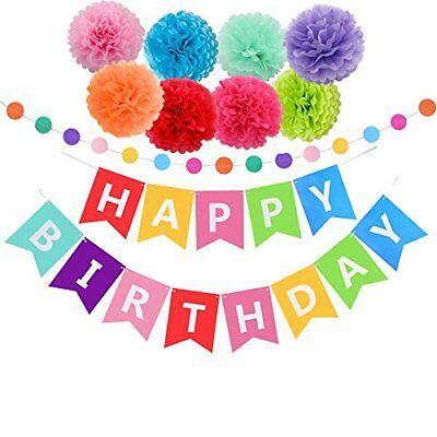 Liberale Decorazioni Compleanno Pack, Happy Birthday Banner Con 8 Tessuto Pom Pon Per La Pioggia-mostra Il Titolo Originale