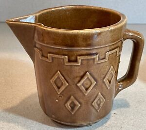 Mid Century Modern Pitcher Jug Brown Pottery 5 inches tall           JR