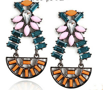 New Unique Style Crystal Resin Leaf  Flower Drop Geometry Statement Earring Stud