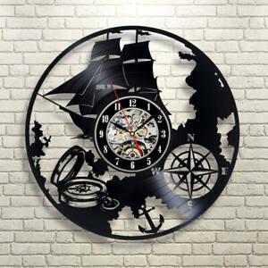 Sailing-Ship-Art-Modern-Wall-Clock-Print-Vinyl-Record-Clock-Pirate-Decor-Boat