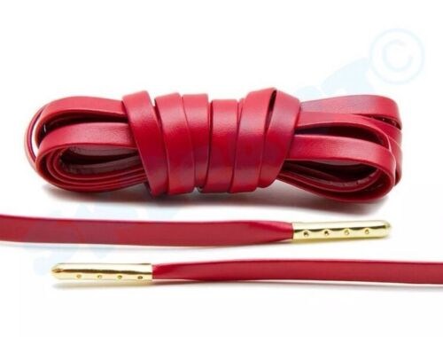 """1 New Pair Red// Gold 63/"""" Luxury Flat Leather Sneaker Laces Royal Jordan OFF USA"""