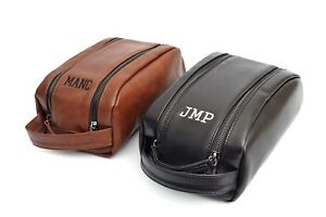 Details About Personalised Mens Toiletry Wash Bag Travel Accessories Groomsmen Gift Dopp Kit