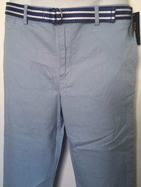a08e8737a88e Ralph Lauren Boys Pants Suffield Stretch Chino Hampton Blue Belt Sz ...