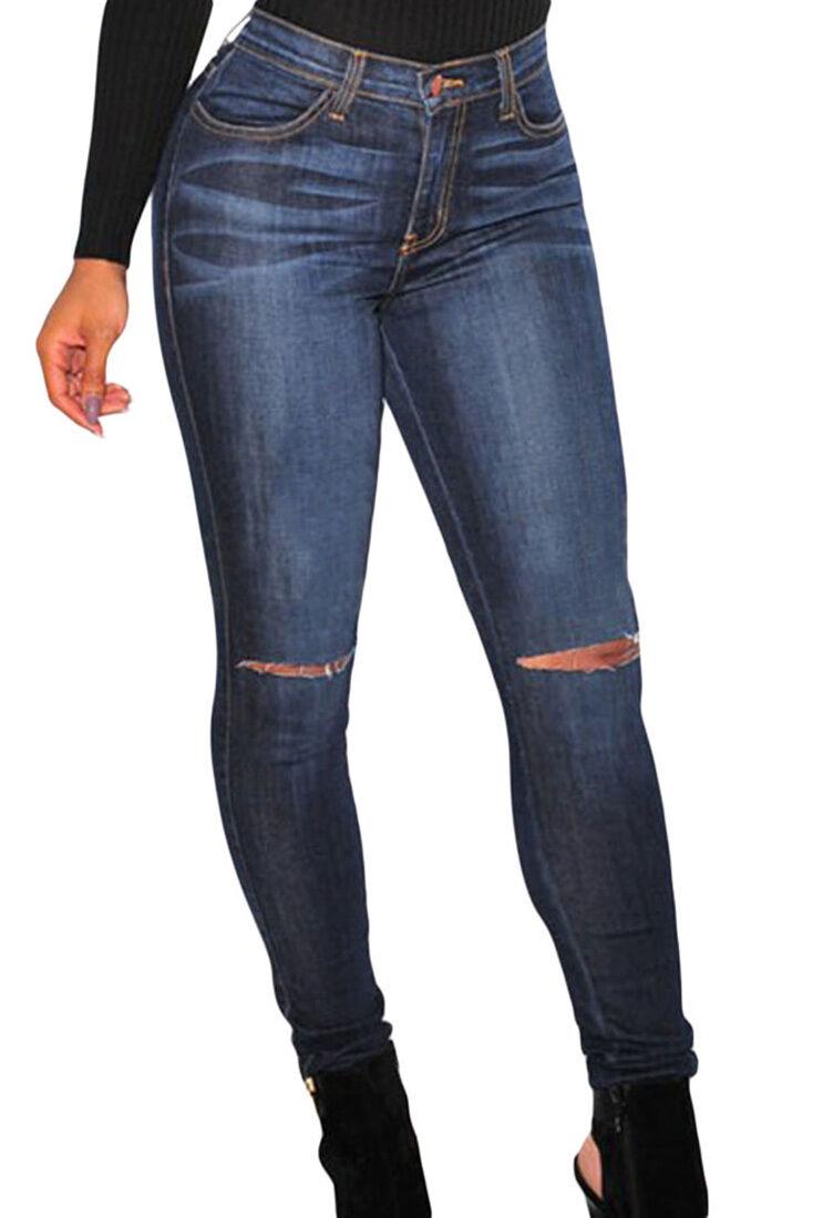 Frauen-jeans zerrissen hohe size skinny reißverschluss hose taschen angepasst