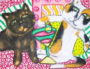Calico-Cat-Drinking-Coffee-Pop-Art-Print-8-x-10-Signed-by-Artist-Limited-Edition