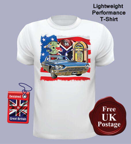 Ford Thunderbird Men/'s T Shirt Route 66 Jukebox USA Flag, Ford Thunderbird