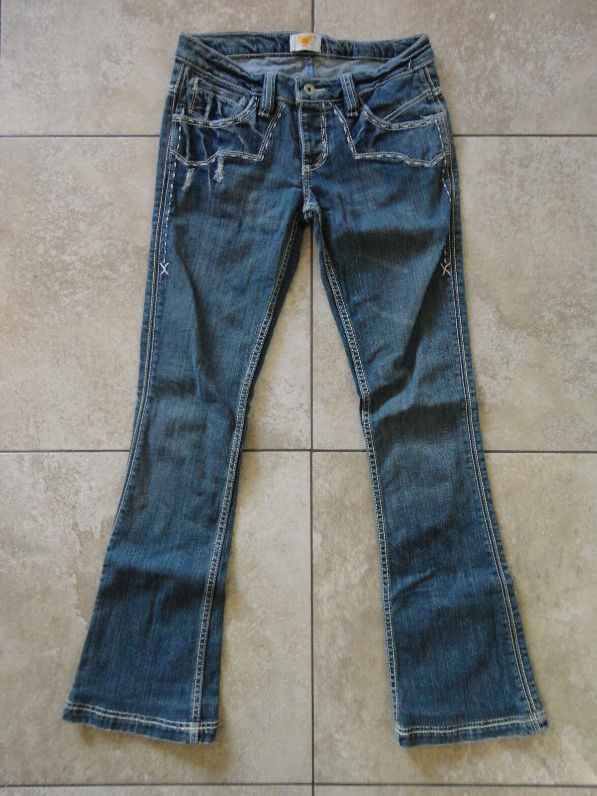 ANTIK DENIM {Size 26 in.} Women's Distressed Bootcut Embroidered Jeans VERY NICE