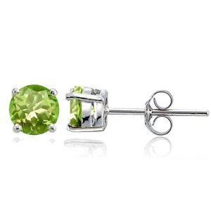 Sterling-Silver-Peridot-6mm-Round-Stud-Earrings