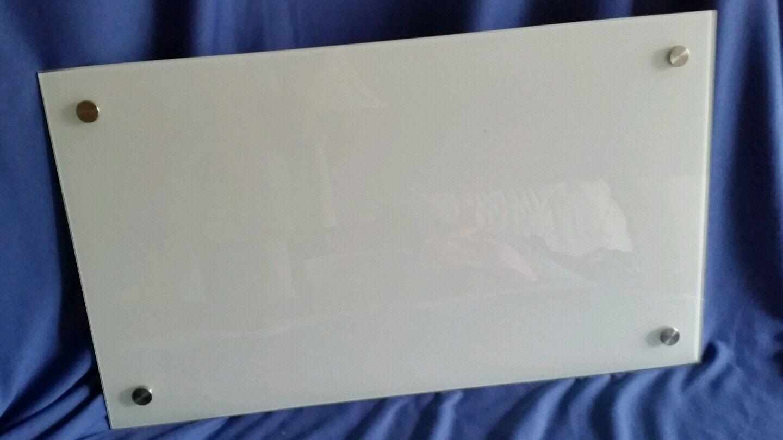 GLASS Dry Erase Board Frameless w Hardware Hanging Cubicle NEW Mega Dude Board