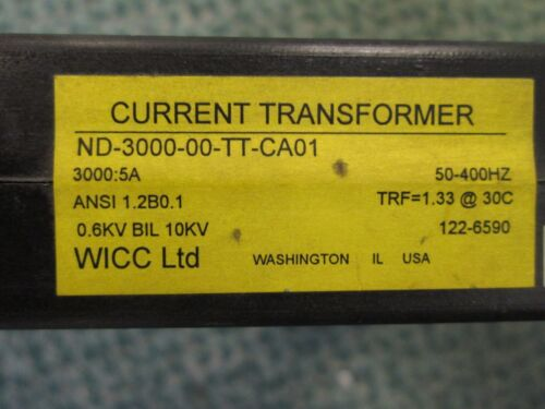 WICC Current Transformer ND-3000-00-TT-CA01 3000:5A Ratio 600V 50-400Hz Used