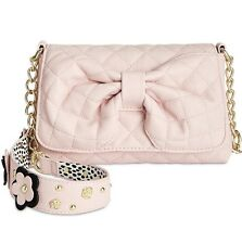 ♡ Betsey Johnson Pink Quilted Bow Black Blush Floral Strap Shoulder Handbag