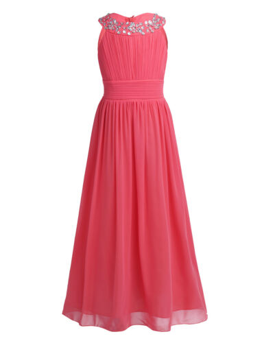 Kids Chiffon Pageant Party Wedding Flower Girl Dress Junior Bridesmaid Long Gown