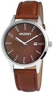 Akzent-Herrenuhr-Braun-Silber-Datum-Metall-Kunst-Leder-Armbanduhr-X-2900008-005