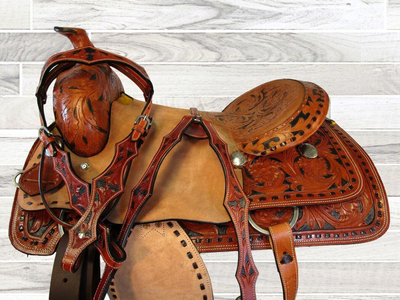 Pro 16 17 occidentales labrada de Cuero Pintado caballo oeste Roper Rancho amarrar silla de montar