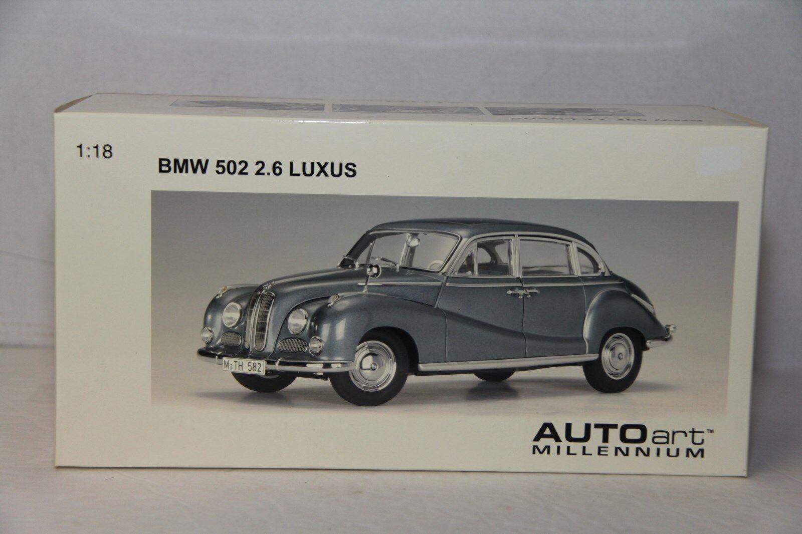 Autoart BMW 502 2.6 Luxus, Acero Azul Metálico 70592, nuevo