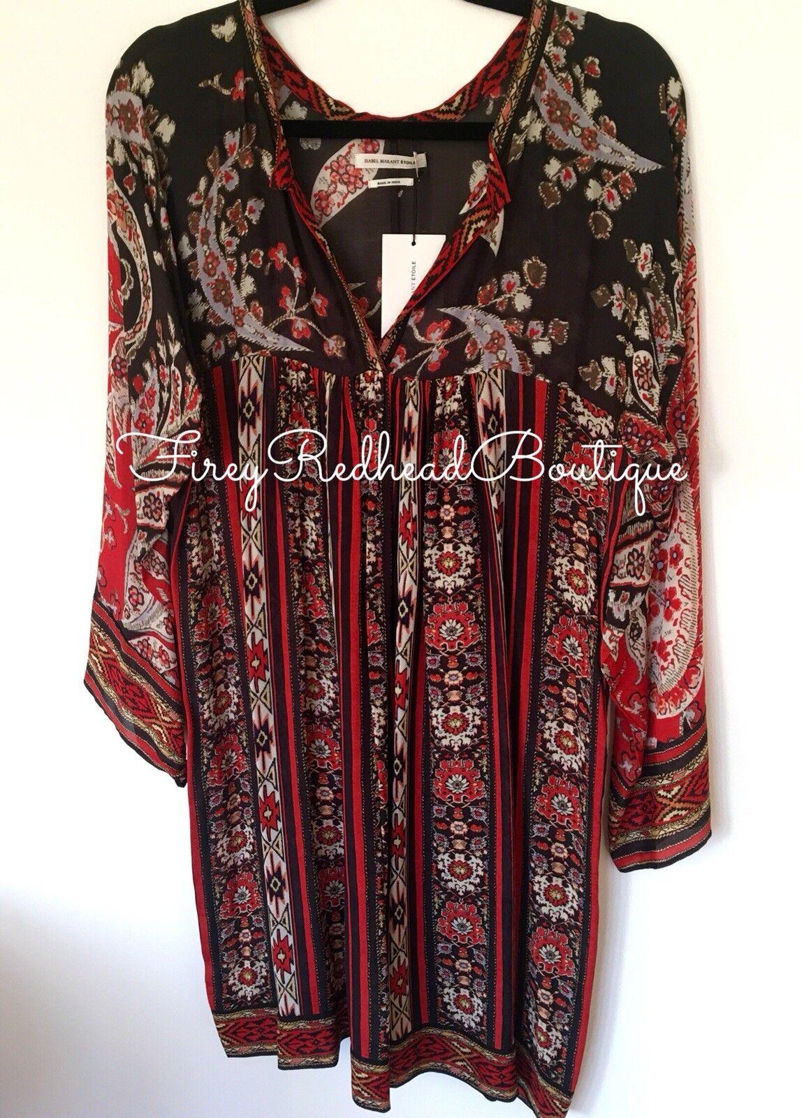 Isabel Marant Tresha Dress - Size 3     US 10   Fr 42 - Red   Multi
