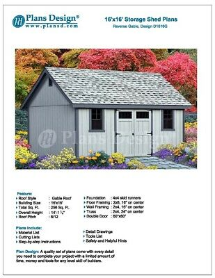 Do It Yourself Patterns Storage Shed Plans 16 X 16 Reverse Gable Roof Style 610708152248 Ebay