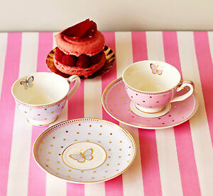 Bombay-Duck-Miss-Woodhouse-Set-of-2-mini-Teacups-amp-Saucers-Tea-Cup-Party