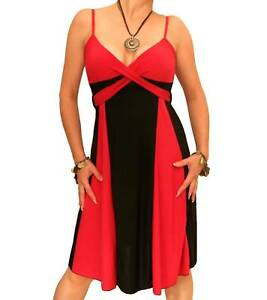 New-Red-and-Black-Strappy-Knee-Length-Dress