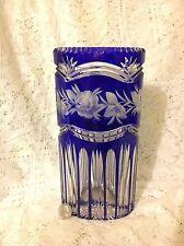 "Vintage Oval 10"" tall Bohemian Czech Cobalt Blue Cut to Clear Crystal Vase"