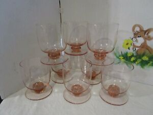 Vintage-Contemporary-Blush-Pink-Rocks-Tumbler-Stem-Goblet-Signed-Crystal-Set-8