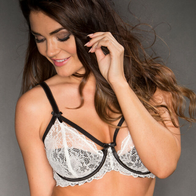 Pour Moi Obsession Underwired Half Padded Bra - Ivory/Black B-G (9400)