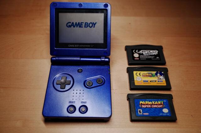 Nintendo Game Boy Advance SP Metallic Blau + 3 Spiele