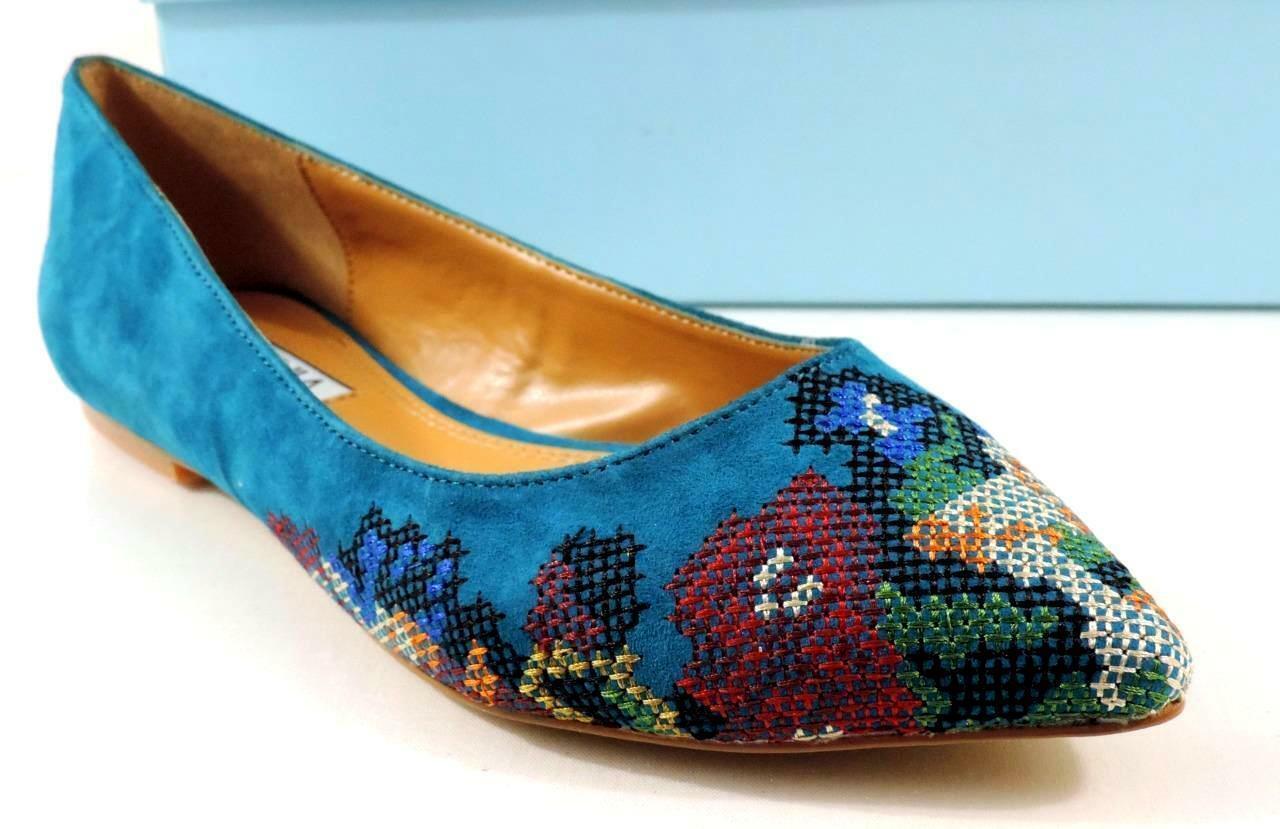 Cynthia Rowley Astor Ballet Flat Pointy Toe shoes Suede Turquoise Turquoise Turquoise bluee Size 5.5 9b6a4b