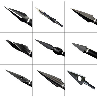 12X Archery Arrowheads Hunting Target Steel 105 Grains 2 Blades Points Outdoor