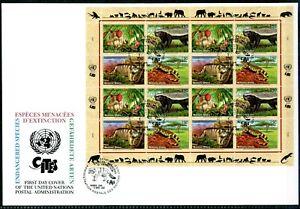 UNO-Genf-ZD-Bg-UNPA-MiNr-434-37-Ersttagsbriefe-FDC-gefaehrdete-Arten-GF12123