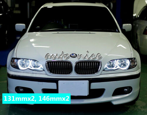 For BMW E46 Non-projector Headlight SMD LED Angel Eyes Halo Rings Kit 131+146mm