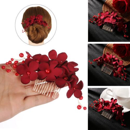 Jewelry Romantic Bridal Clips Red Flower Hair Pin  Hair Combs Bridesmaid Tiara