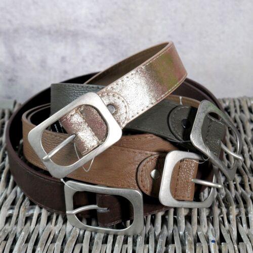 ♥ Gürtel mit schöner Schnalle in silber Leder Optik 3,6 cm auch metallic *G3