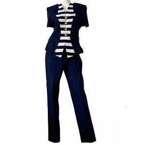 Vintage-80s-Linda-Segal-NWT-Disco-Sailor-Nautical-Pant-Suit-Set-NWT-Medium