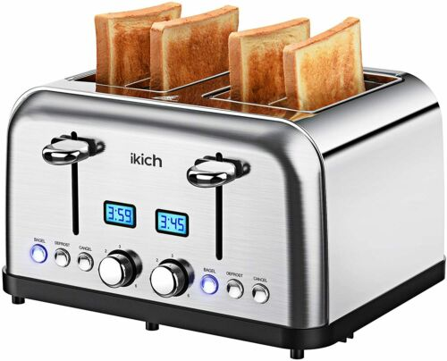 Prime Rated Toaster Stainless Steel Digital Countdown 1500W 4 Slice Toaster