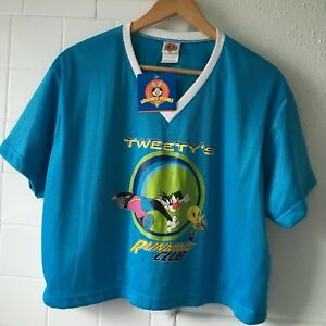 Image is loading Vintage-90s-Looney-Tunes-Tweety-Sylvester-Football-Mesh- bffd64882