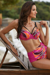 "Cup C/d Gut High Waist Bikini "" Curacao Pink/orange/braun"" Gr l 42 44"