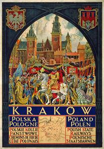Tw55 Vintage Cracovia Cracovia Polonia polaco viajar en tren Poster volver a imprimir A2/a3  </span>