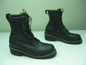 Black Made In Usa Lace Up Logger Hiking Trail Fire