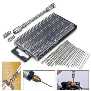 21pc Mini Micro Twist Drill 0.3-1.6mm HSS Bit Set Hand Spiral Pin Vise Jewelry S