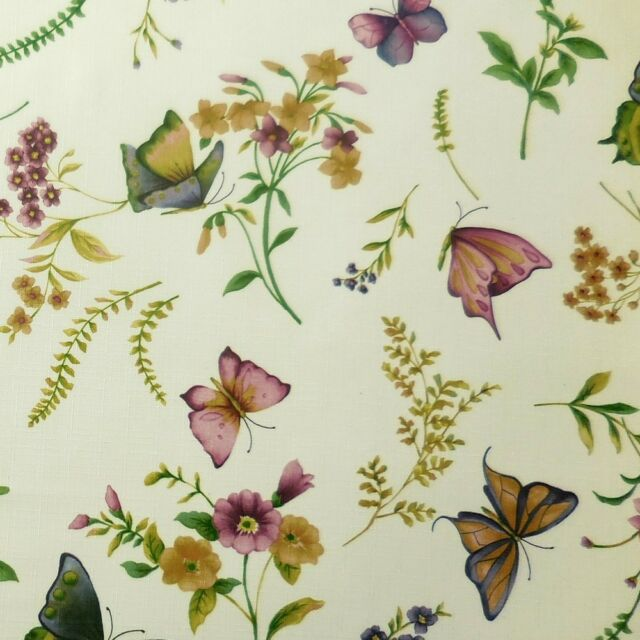 Tischdecke Tafeltuch 130 cm x 225 cm Schmetterlinge Blumen Gräser Garten