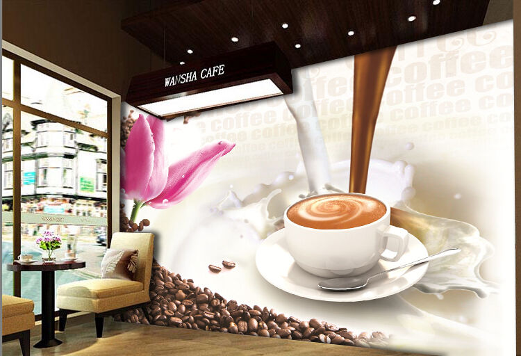 3D Coffee art Wall Paper Print Wall Decal Deco Indoor Wall Murals