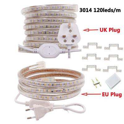 1m-15m 3014 LED Strip 120LEDS//M Waterproof IP67 Flexible Rope Lights 220V 240V