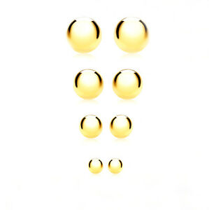 NEW-9ct-Yellow-Gold-Plain-Ball-Stud-Sleeper-Earrings-with-Scroll-Backs-3mm-6mm