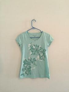 New-York-amp-Company-women-039-s-tee-t-shirt-short-sleeve-top-teal-aqua-blue-small