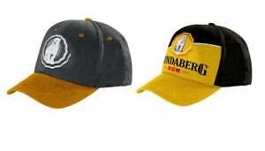 SET-OF-2-BUNDABERG-RUM-GOLD-PEAK-MENS-BASEBALL-CAP-BLACK-amp-YELLOW-BASEBALL-CAP
