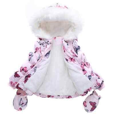 2016 New Kids Toddlers Girls Butterflies Winter Fleece Coat Jacket & Gloves 1-6Y