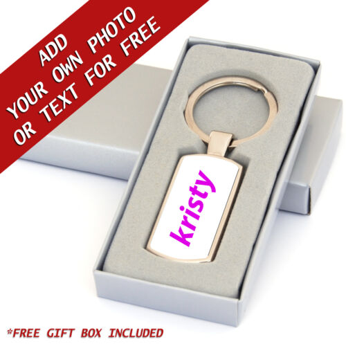 Customisable Keyring YOUR PHOTO or TEXT Resin DOMED Customised Gift