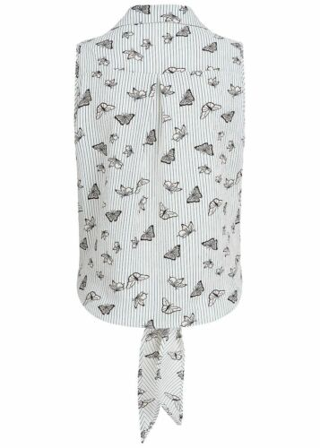 50/% OFF B18052982 Damen 77 Lifestyle Bluse Streifen /& Schmetterling Muster weiß