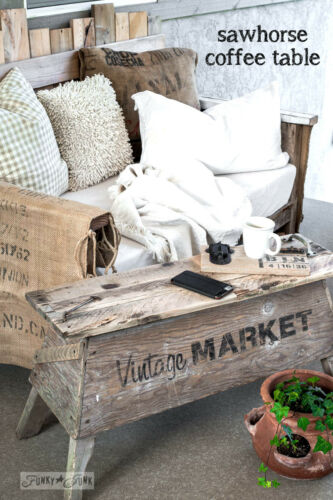 Make A No Fuss Super Cool Sawhorse Coffee Table For Your Patio
